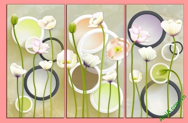 Tranh trang trí hoa lá Vector cho phòng khách Amia 416-02