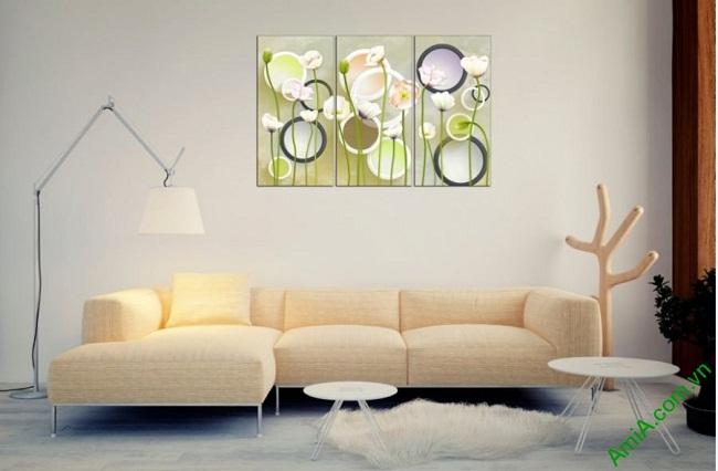 Tranh trang trí hoa lá Vector cho phòng khách Amia 416-03