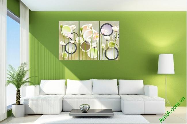 Tranh trang trí hoa lá Vector cho phòng khách Amia 416