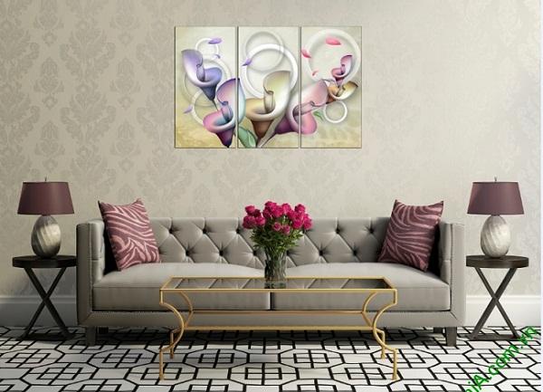 Tranh trang trí nghệ thuật phòng khách Hoa Zum 3D bộ 3 tấm-01