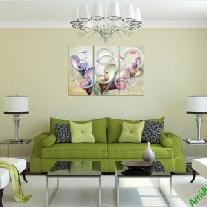 Tranh trang trí nghệ thuật phòng khách Hoa Zum 3D bộ 3 tấm-02