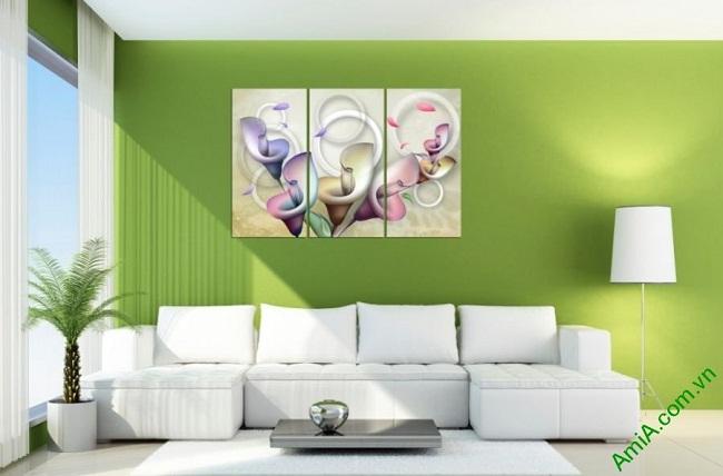 Tranh trang trí nghệ thuật phòng khách Hoa Zum 3D bộ 3 tấm-03