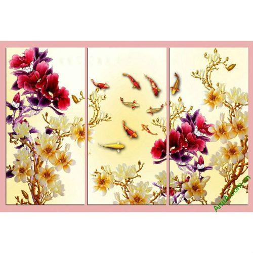 Tranh trang trí phòng khách Cá Chép Hoa Mẫu Đơn Amia 409-00