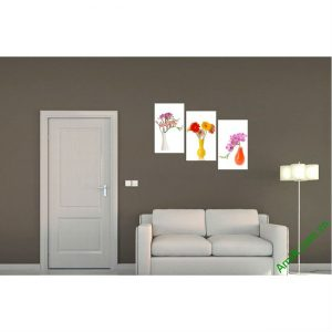 Tranh trang trí phòng khách Bình Hoa bộ 3 tấm Amia 398-00