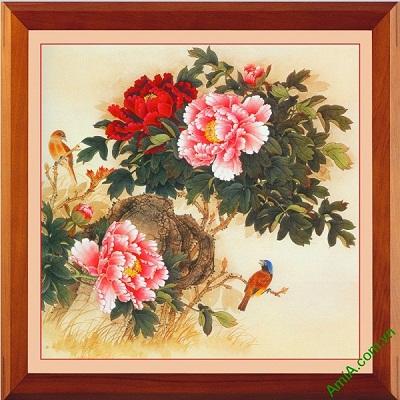 Tranh trang trí phòng khách đẹp hoa Mẫu Đơn Amia 419-00
