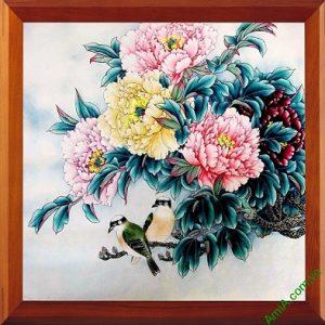 Tranh trang trí phòng khách Hoa Mẫu Đơn Amia 418-00