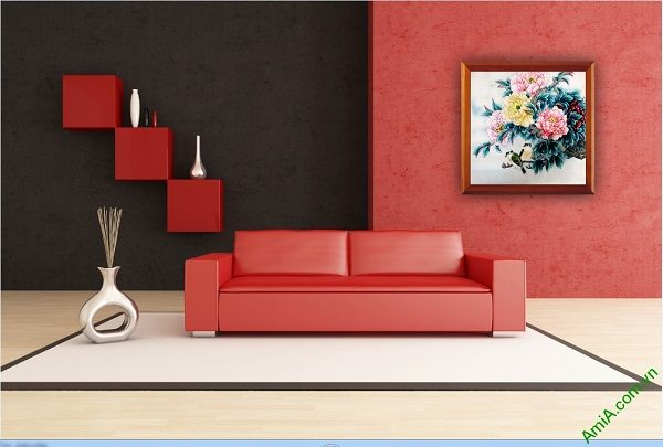 Tranh trang trí phòng khách Hoa Mẫu Đơn Amia 418-01