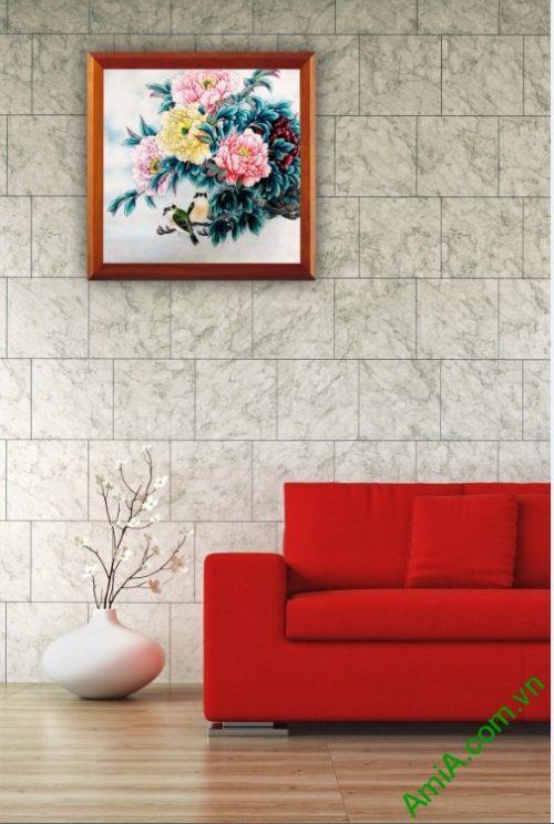 Tranh trang trí phòng khách Hoa Mẫu Đơn Amia 418-03