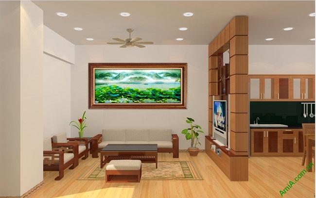 Tranh trang trí phòng khách in giả sơn dầu Đầm Sen Amia 420-01