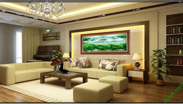 Tranh trang trí phòng khách in giả sơn dầu Đầm Sen Amia 420-02