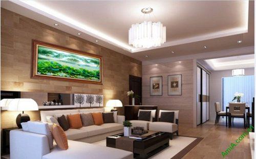 Tranh trang trí phòng khách in giả sơn dầu Đầm Sen Amia 420-03