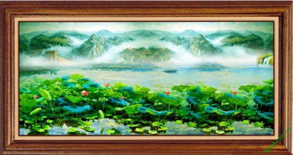 Tranh trang trí phòng khách in giả sơn dầu Đầm Sen Amia 420