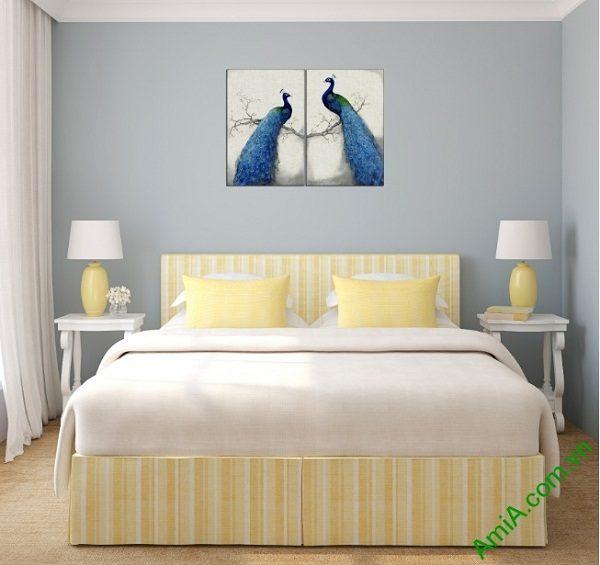 Tranh trang trí phòng khách, phòng ngủ Đôi Chim Công Amia 417-02