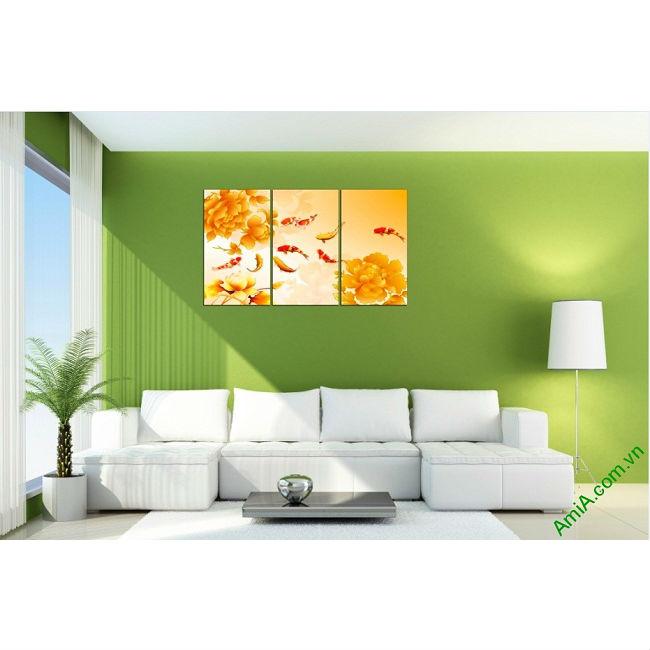 Tranh trang trí phòng khách sang trọng Cá Chép 3D Amia 410-00
