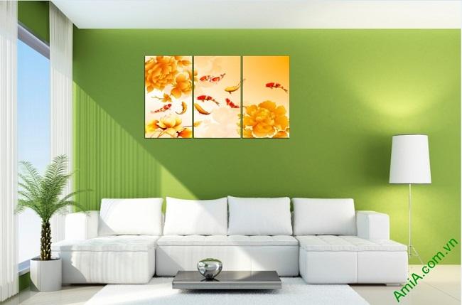 Tranh trang trí phòng khách sang trọng Cá Chép 3D Amia 410-01