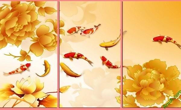 Tranh trang trí phòng khách sang trọng Cá Chép 3D Amia 410