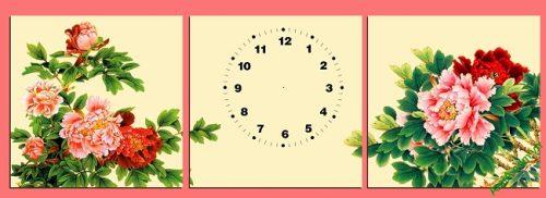 Tranh đồng hồ trang trí phòng khách hoa Mẫu Đơn