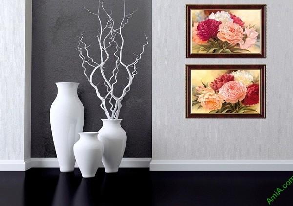 Bộ tranh trang trí hoa Mẫu Đơn thiết kế Vintage Amia 425-01