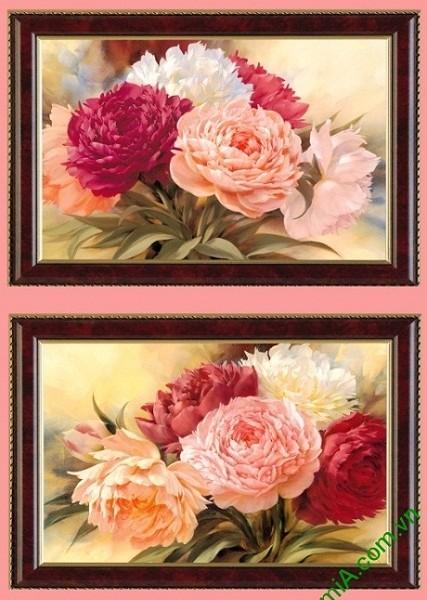 Bộ tranh trang trí hoa Mẫu Đơn thiết kế Vintage Amia 425