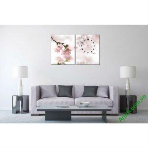 Tranh đồng hồ trang trí phòng khách hoa Anh Đào Amia 449-00