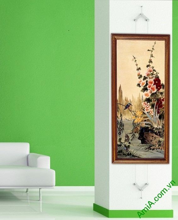 Tranh hoa lá trang trí phòng khách kiểu đứng Amia 423-01