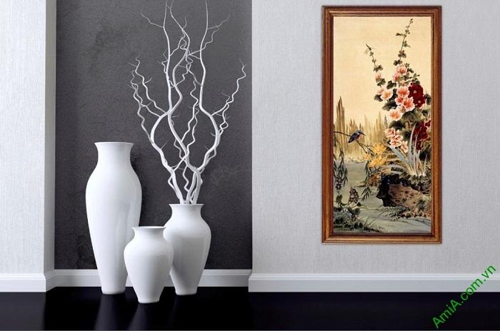 Tranh hoa lá trang trí phòng khách kiểu đứng Amia 423-02