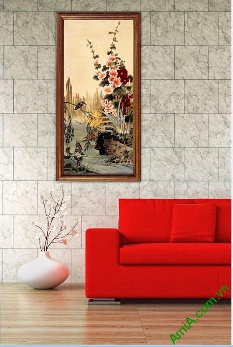 Tranh hoa lá trang trí phòng khách kiểu đứng Amia 423-03