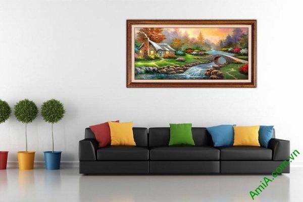 Tranh phong cảnh đẹp in giả sơn dầu trang trí phòng khách-01