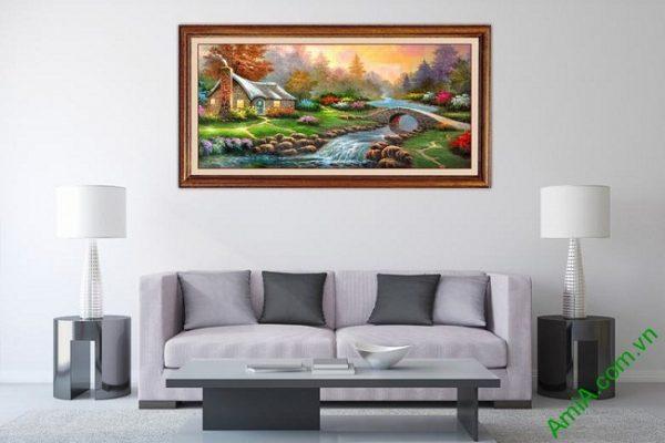 Tranh phong cảnh đẹp in giả sơn dầu trang trí phòng khách-02