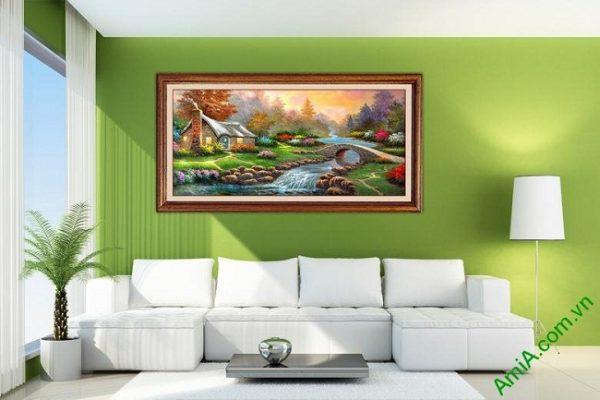 Tranh phong cảnh đẹp in giả sơn dầu trang trí phòng khách-03