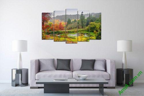 Tranh phong cảnh trang trí phòng khách Mùa Thu Amia 440-01
