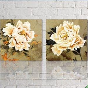 Tranh song hoa Mẫu Đơn trang trí phòng khách đẹp Amia 426-00