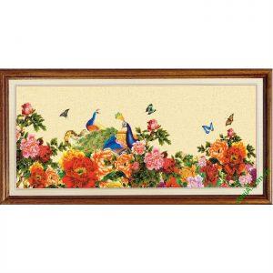 Tranh trang trí Chim Công Hoa Mẫu Đơn Amia 422-00