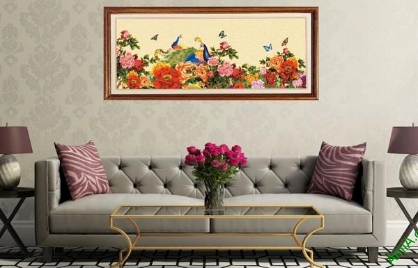 Tranh trang trí Chim Công Hoa Mẫu Đơn Amia 422-01