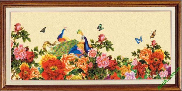 Tranh trang trí Chim Công Hoa Mẫu Đơn Amia 422
