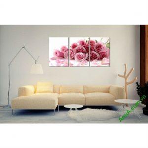 Tranh trang trí ghép bộ 3 tấm hoa Hồng tình yêu Amia 452-00