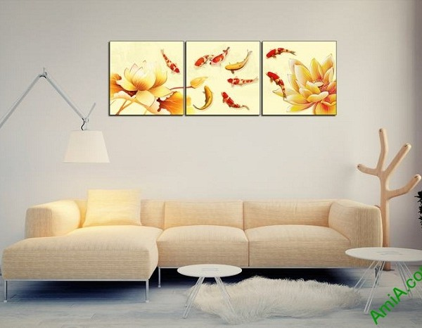 Tranh trang trí hiện đại Cá Vàng Hoa Sen Amia 439-01