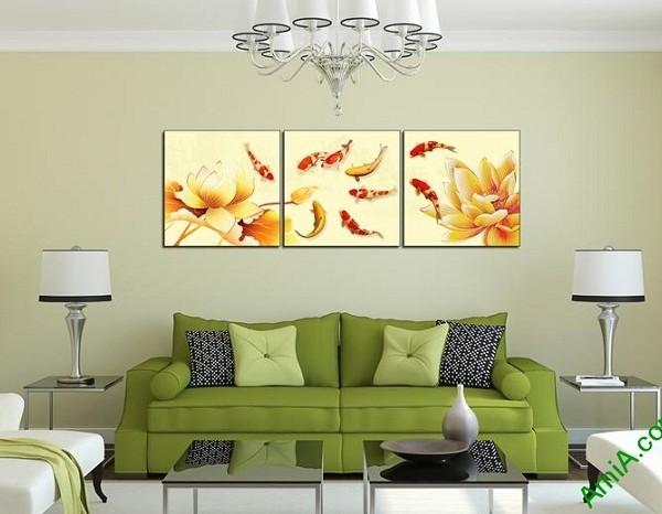 Tranh trang trí hiện đại Cá Vàng Hoa Sen Amia 439-02