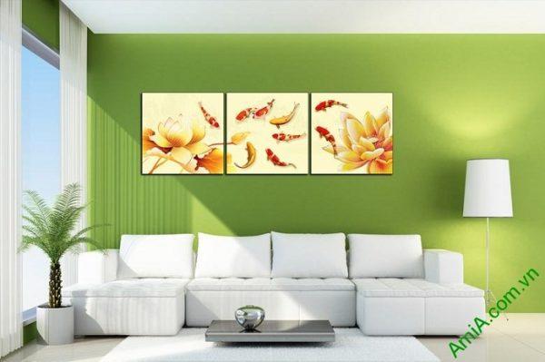 Tranh trang trí hiện đại Cá Vàng Hoa Sen Amia 439-03
