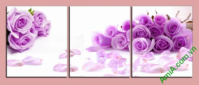 Tranh trang trí hoa Hồng Tím ghép bộ 3 tấm Amia 451