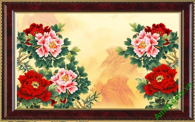 Tranh trang trí hoa Mẫu Đơn phong cách Vintage Amia 424