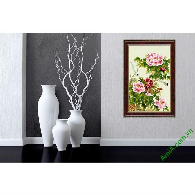 Tranh trang trí in giả sơn dầu hoa Mẫu Đơn ốp dọc Amia 437-00