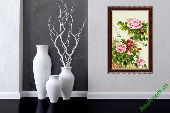 Tranh trang trí in giả sơn dầu hoa Mẫu Đơn ốp dọc Amia 437-01