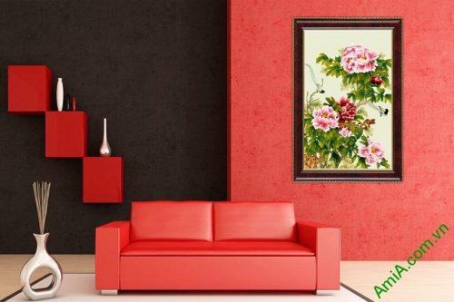 Tranh trang trí in giả sơn dầu hoa Mẫu Đơn ốp dọc Amia 437-02
