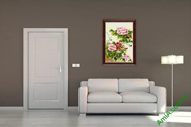 Tranh trang trí in giả sơn dầu hoa Mẫu Đơn ốp dọc Amia 437-03