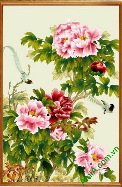 Tranh trang trí in giả sơn dầu hoa Mẫu Đơn ốp dọc Amia 437