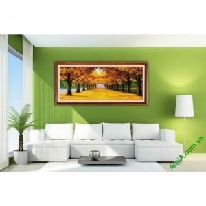 Tranh trang trí in giả sơn dầu phong cảnh mùa Thu Amia 433-00