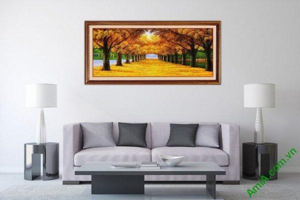Tranh trang trí in giả sơn dầu phong cảnh mùa Thu Amia 433-01