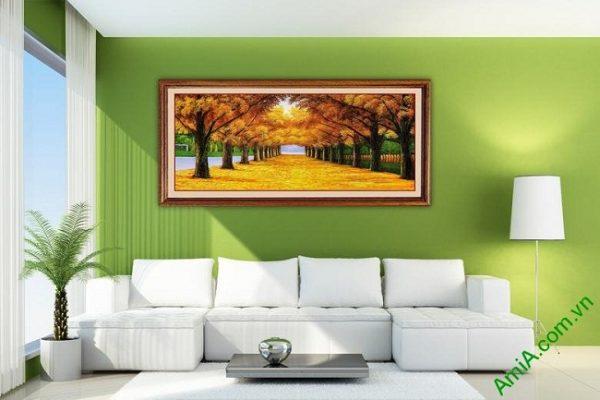 Tranh trang trí in giả sơn dầu phong cảnh mùa Thu Amia 433-02