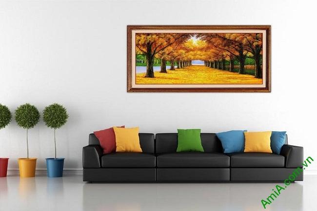 Tranh trang trí in giả sơn dầu phong cảnh mùa Thu Amia 433-03